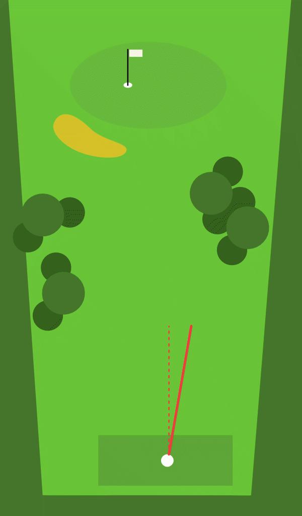 Offene Schlagfläche beim Golfen